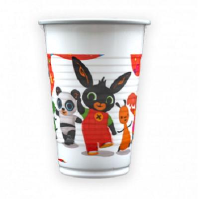 Bicchiere in Plastica 200 cc bianco con stampa Bing e amici